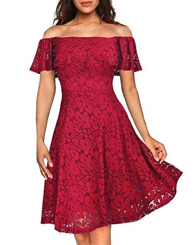 Kidsform Women's Off Shoulder Lace Dress Vintage Floral Cocktail Party Wedding Dresses H-Wine Red M