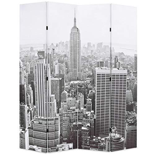 vidaXL Biombo Divisor Plegable 160x170 cm Nueva York Blanco y Negro Separador
