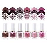 BORN PRETTY Nail Stamping Polish Nail Art Barniz DIY Sello Laca de impresión Withered Rose Stamping Series Polish 6ml 6 Botellas