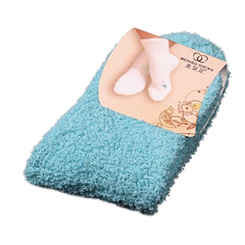 Lazzboy Weiches Bett Bodensocken Fluffy Warm Winter Pure Color Damen Warme Socken Premium Qualität Pack Dicke Stricksocke(Himmelblau)