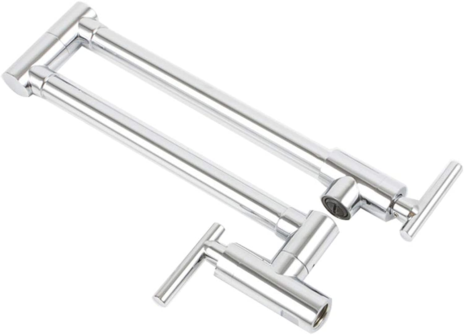 Copper Folding Telescopic Wall-Mounted Kitchen Sink Double Handle Single Cold Tap,Plating