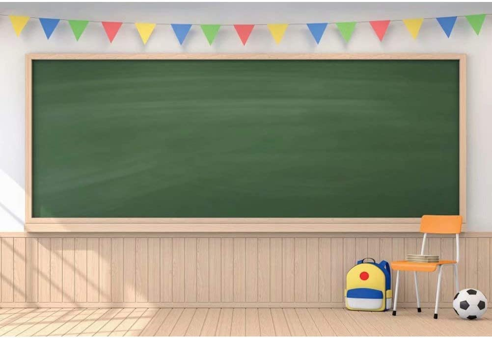 OFILA Blackboard Backdrop 6x4ft Polyester Fabric Classroom Photography Background Books Pencils Kids Back to School Day Photo Shoot Online Class Photography Background Teacher Backdrop Props