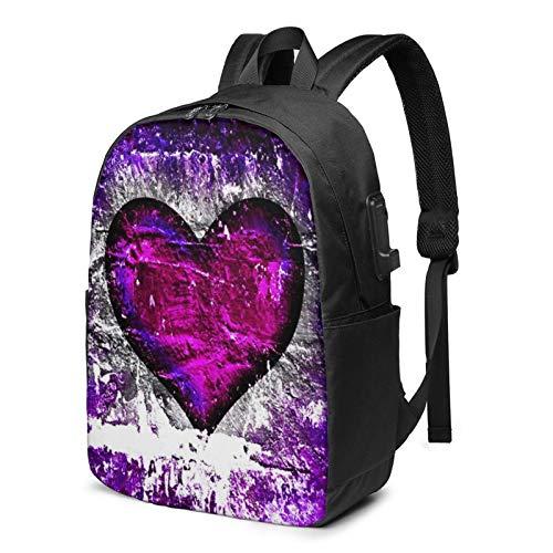 Laptop Backpack with USB Port Purple Grunge Heart On Brick Wall, Business Travel Bag, College School Computer Rucksack Bag for Men Women 17 Inch Laptop Notebook
