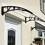 Frosted Door Canopy | Strong Shelter Roof protecting Patio,Doors & Windows, from natural elements such as rain, snow and winds | UV resistant | L80xW121xD23cm | Easylife Lifestyle Solutions | In Black