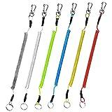 IKAAR Angeln Lanyard Spiral Schlüsselanhänger Elastisch mit Karabiner für Fishing Tackle Zubehör Bootfahren und Camping (Mehrfarben) 6 Stück