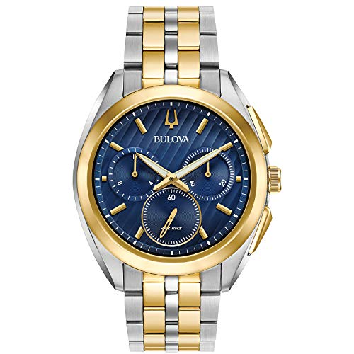 BULOVA CURV Reloj DE Hombre Cuarzo 45MM Correa DE Acero Doble Tono 98A159