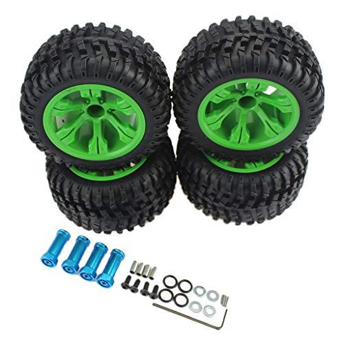 chiwanji 4PCS RC Crawler Car Wheel Type Neumáticos con Juego de Llantas Y Adaptador de Extensión de Cubo