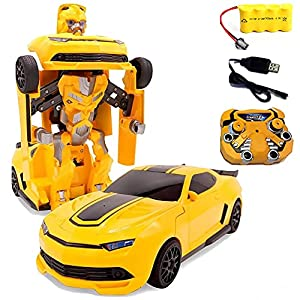 SuperPower Remote Control Car Transforming Bumblebee Classic Disguise Action Figure Hero Robot Toy with One Button Transformation by Shantou