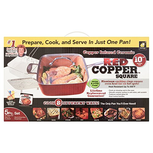 Red Copper 6473383 10 in. 4.5 qt. As Seen On TV Ceramic Copper Square Deep Dish Pan Red
