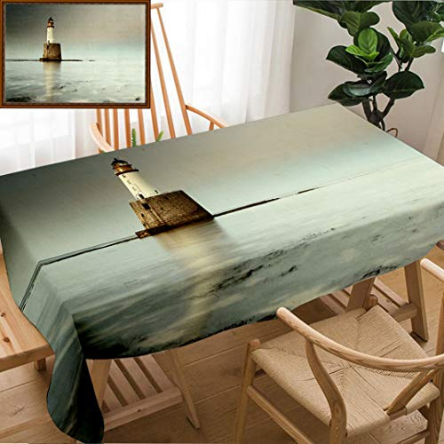 "Unique Custom Design Cotton and Linen Blend Tablecloth Rattray Head Lighthouse On The North East Coast of Scotland As The Sun Setting with The Tide ComingTablecovers for Rectangle Tables, 60"" x 40"""