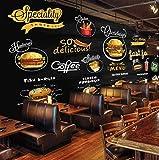 Murales Papel Pintado, Pizza de hamburguesa de comida rápida Fotomural para Paredes Mural Vinilo decorativo 200x140cm decoración comedores, Salones, Habitaciones