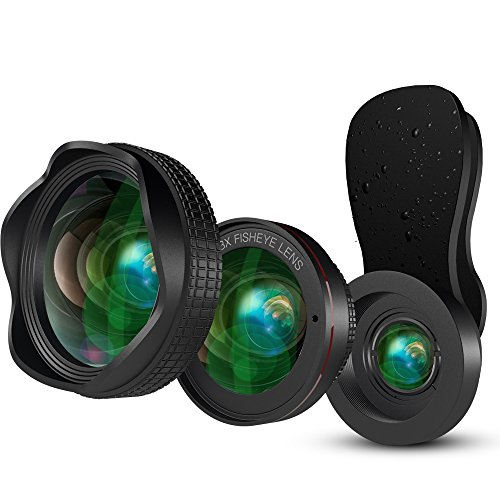 LUXSURE Objektiv Handy Set 3 in 1 Weitwinkelobjektiv + 15x Makro Objektiv + Fisheye Objektiv Fischauge für iPhone XS/XS Max/XR/X/8 Plus/7 Plus, Objektiv für Samsung Galaxy Note 9/Note 8/s9/s9+/s8