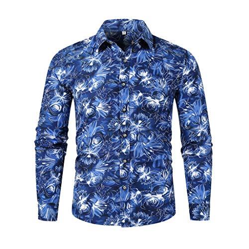 Aoogo Herren Hemd Fashion Bedruckte, Männer Shirts Business Stehkragen Revers Langarm Herbst und Winter Casual Slim Fit Lange Ärmel Bluse Mens Modern Taste Regular Fit Floral Print Tops