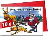 Lustige, humorvolle Weihnachtskarten mit Umschlag im 10er Set, Motiv »Plattfuss«, für private und geschäftliche Weihnachtsgrüße, als Postkarte oder Geschenkkarte verwendbar. Größe XL