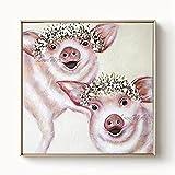 ZNYB Cerdo Arte de Dibujos Animados Pintura al óleo Hecha a Mano Animal Mascota Arte de la Pared Pinturas en Lienzo Cuadros de Pared Colgante de Pared para la decoración de la habitación de los niños