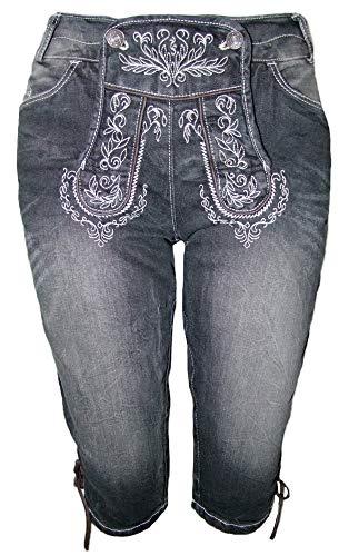 Trachtenland Jeans Bea in Lederhosen Optik Anthrazit Ecrue Gr. 34 - Super Bequeme hochwertige Damenjeans in Lederhosenoptik für Oktoberfest und Kirchweih