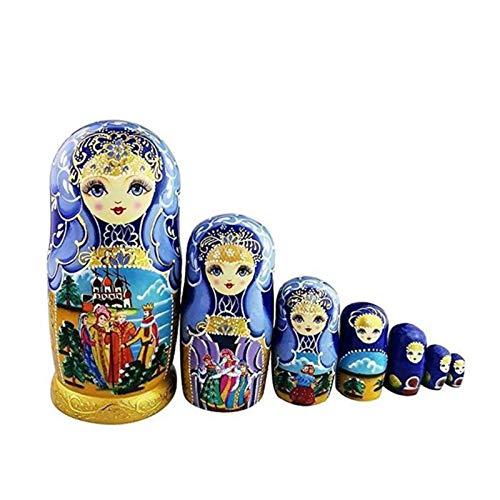 Mr.LQ 7pcs Russische Matroschka Nesting Doll Mädchen Basswood Handgemalte Dekor Geschenk Puppe Spielzeug