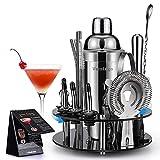 20 Teiliges Geschenkset Cocktail Set Shaker mit 360° Drehbarem Acryl Ständer | Cocktail Shaker Set Edelstahl | Cocktailshaker Geschenk Cocktail Bar Set Cocktailset Groß 750ML Cocktails Mixer