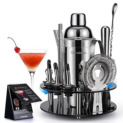 Vemingo Coctelera con soporte acrílico | Juego de coctelera de acero inoxidable | Cocktail Bar Gift Professional Set Bartender Kit Mezclador de cócteles grande 20 piezas