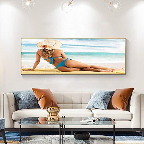 wZUN Playa Bikini Belleza Mujeres Lienzo Mural Carteles y Grabado Salón de Arte Salón 60x180 Sin Marco