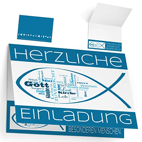 12er Set Einladungskarten zur Kommunion Konfirmation Taufe Firmung WORTWOLKE - edle Klappkarten für Jungen Mädchen Einladung Karten von BREITENWERK