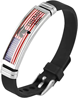 Trump 2020 Wristband for Friends Silicon Black Bangle Stainless Steel Structure Chart Bracelet for Women
