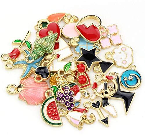 30 ciondoli assortiti smaltati per creazione di gioielli, ciondoli misti in metallo liscio, ciondoli fai da te per collane, bracciali, gioielli e artigianato B