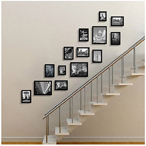 Fotobehang fotolijst collage 14 Europese Creatieve Hout Trap Gang Combinatie fotolijst Achtergrond Muur Decoratie Hal
