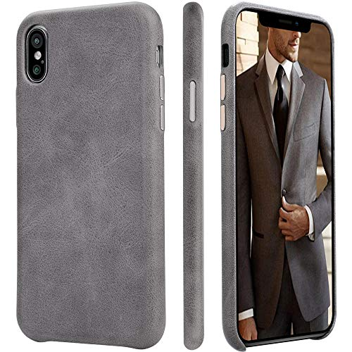 HCYANG iPhone Xs/X Case Genuine Leather Microfiber Lining Protective iPhone 10 Case Cover Slim Fit Vintage Shell Hard Back Cover for Apple iPhone X/XS 5.8'' (2018) Gray