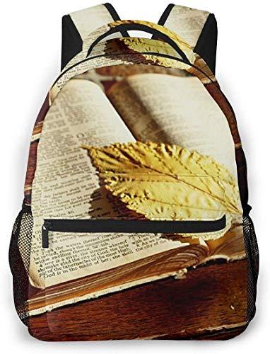 smile-life Altes Bibelbuch und Lesezeichen lassen Rucksäcke College School BookBag Reisetasche Laptop Daypack