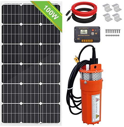 Pumplus 12V Solar Well Pump + 100W Solar Panel + 20A Charge Controller + 16ft Solar Cables + Z Mounting Brackets, 100W Submersible Solar Water Well Pump Kit