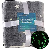 Glow in The Dark Blanket for Kids Twin Size 60' x 80' Shining Blanket Universe Galaxy Stars Moon Flannel Fleece Blanket Super Soft Space Luminous Couch Sofa Bed Nap Blanket for Girls Boys Adults