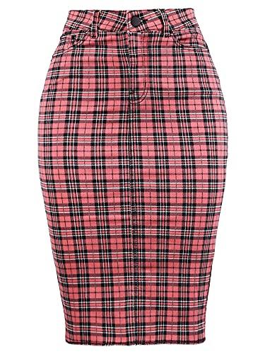 Slim Fit Rayon Knee Length Back Slit Denim Jean Pencil Skirt Pink Plaid Check 1XL