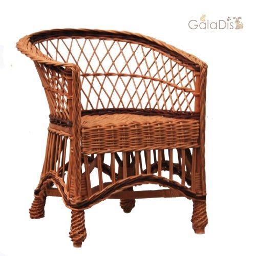GalaDis 12-12 Korbsessel aus Weide geflochten/Sessel/Stuhl für Kinder/Puppenstuhl