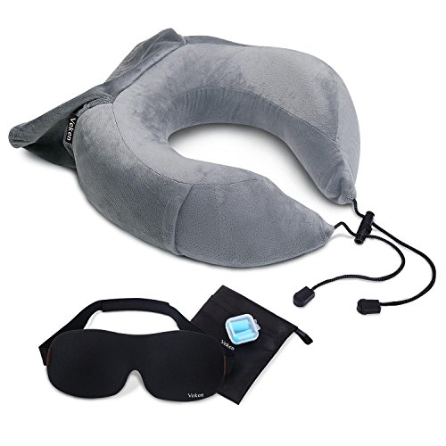 Veken Travel Neck Pillow for Airplane Train Car, Memory Foam Foldable U Shaped Chin Support Pillow, Travel Kit with Sleeping Mask and Earplugs