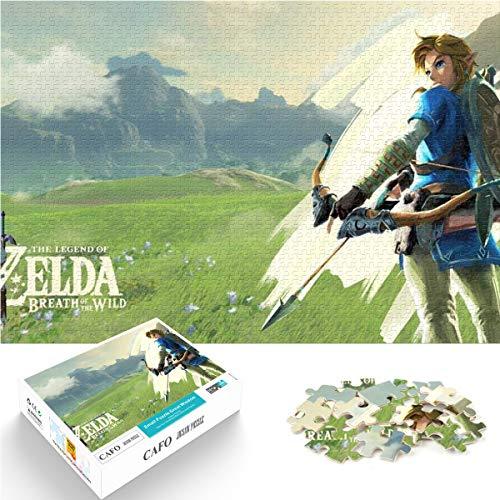 Puzzle 1000 Piezas Zelda Breath of The Wild Japonés Estrategia de Supervivencia Acción Aventura Juego de Papel Juego de Rompecabezas 26x38cm Juego Familiar Juguete de Regalo