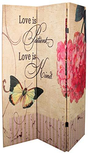 Separè paravento divisorio Love e Farfalla in Legno con Pannello colorato in Canapa plastificato per Ambienti casa Lavoro da Interno Esterno