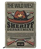Swono The Wild West Poster Tin Signs,Cowboy Hat with Guns and Letter Sheriff Department Vintage Metal Tin Sign for Men Women,Wall Decor for Bars,Restaurants,Cafes Pubs,12x8 Inch
