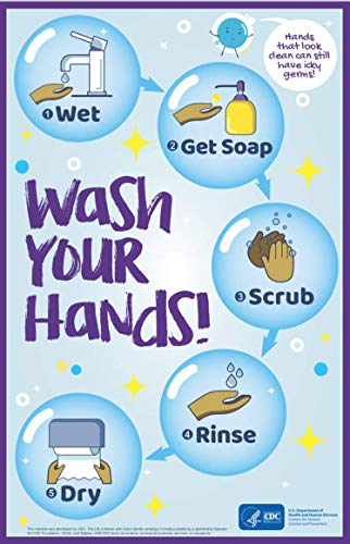 Wash Your Hands Poster - Coronavirus Disease Prevention Poster - Handwashing Poster - COVID-19 Safety CDC Poster 11'x17' - Laminated - English Version for Office or School Poster