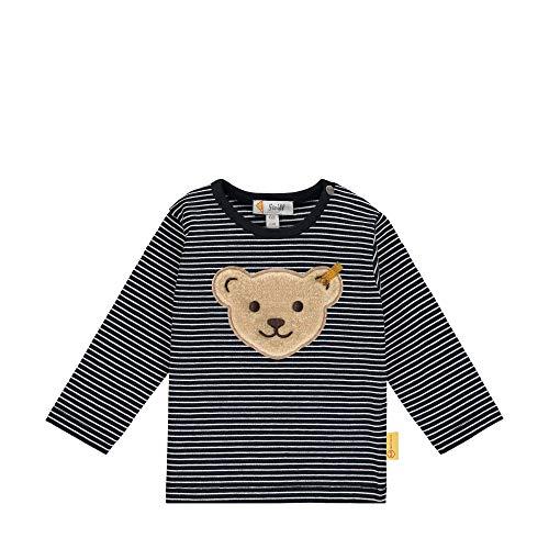 Steiff Baby-Jungen mit süßer Teddybärapplikation T-Shirt Langarm, Navy, 080