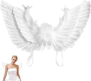 Happyyoo 天使の羽 悪魔の羽 天使コスプレ 大人用 エンジェル仮装 天使の翼 悪魔の翼 黒 白 コスチューム用小物 ハロウィン コスプレ小道具 衣装 天使 悪魔 羽 パーティー 舞台用 仮装 翼 (ホワイト)