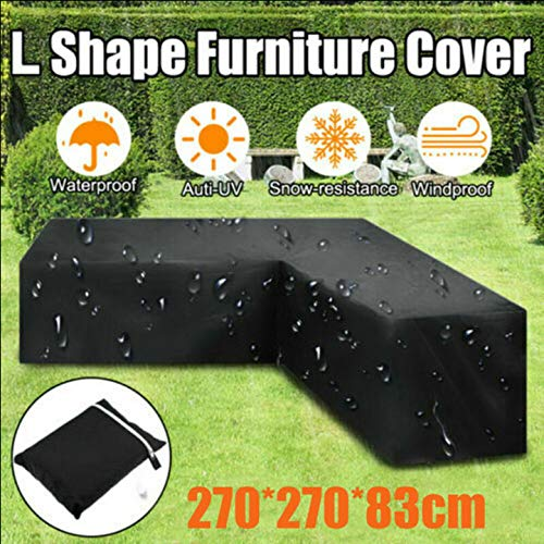 L Shape Furniture Cover Waterproof Dustproof with Storage Bag,Outdoor Garden Rattan Corner Sofa Furniture Couch Protective Cover