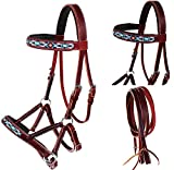 English Western Horse Leather BITLESS Bridle SIDEPULL Halter REINS 77RS14MG-F