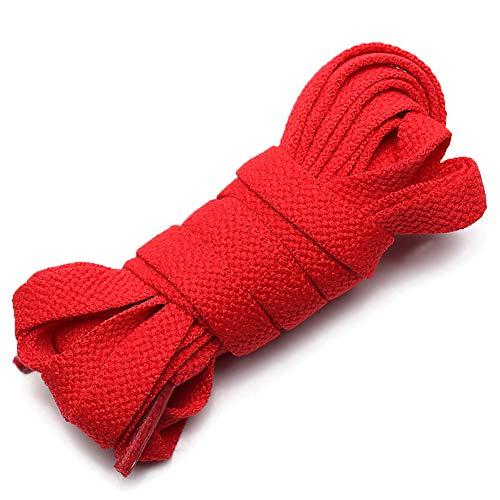 ANUFER Piatto 9mm Largo Colorato Lungo Lacci delle Scarpe per Scarpe Sportive Stivali P11 Rosso 100cm