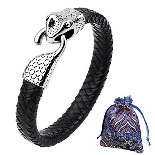 WLXW Colección de Viking Nordic, Pulsera de la Cabeza de Los Hombres Y de Las Mujeres del Acero Inoxidable de la Serpiente, Cuero de la Pulsera Trenzada, Fine Gift, Los 21.5CM,01