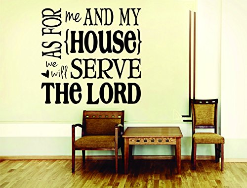 Wall Decal Sale : As for Me and My House We Will Serve The Lord Bible KJV Quote Size: 20 Inches X 20 Inches - 22 Colors Available
