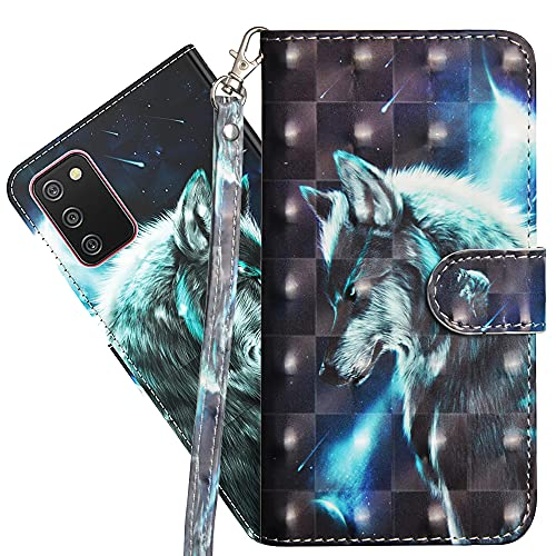 Asdsinforu Galaxy A02S(US Version) Case 3D Full Stylish Advanced Wallet Case Credit Cards Slot with Stand for PU Leather Shockproof Flip Magnetic Case for Samsung Galaxy A02S Wolf YX