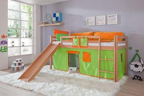 Relita Hochbett Toby Buche Massiv mit Rutsche+Stoffset Grün Orange Grün Orange
