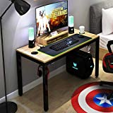 DlandHome Gaming Computer Desk with RGB LED Mouse Pad, 47 inches All-in-one Gaming Table/Workstation with Display Stand, ND14 Pro, Teak and Black Legs, 1 Pack