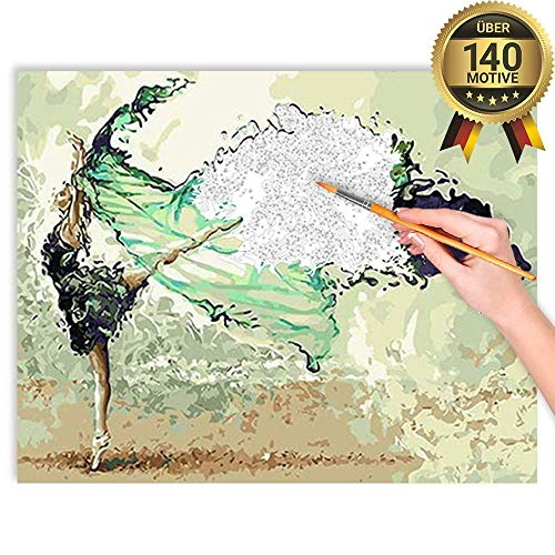 malango® Malen nach Zahlen Set Der Farbentanz über 140 Motive für Erwachsene und Kinder DIY Leinwand Ölgemälde 40 x 50 cm auf Rahmen gespannt Der Farbentanz